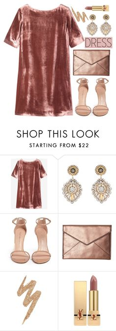 """velvet dress"" by hajni0103 on Polyvore featuring Toast, Miguel Ases, Stuart Weitzman, Rebecca Minkoff, Urban Decay and Yves Saint Laurent"