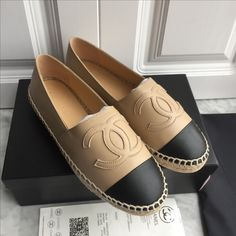 Chanel woman shoes leather espadrilles flats