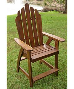 Adirondack Wood Bar Chair sits upright, if not comfortable trim a little off the back legs.
