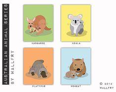 Australian Animal nursery art. Outback nursery prints. by Wallfry