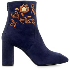 Eugenia Kim zooey floral embroidered suede ankle boots (€560) ❤ liked on Polyvore featuring shoes, boots, ankle booties, blue, botas, navy booties, ankle boots, short boots, block heel ankle boots and navy blue suede booties