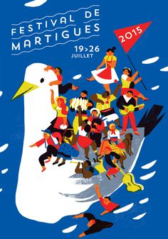 Festival de Martigues by Virginie Morgand We want to sail the bird too! Poster Layout, Poster S, Poster Prints, Illustration Design Graphique, Illustration Vector, Cover Design, Design Art, Flat Design, Graphic Design Posters
