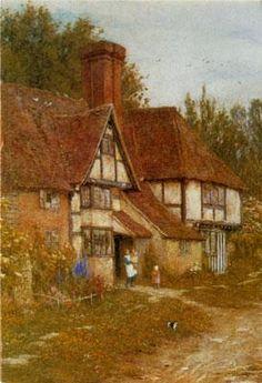 "Helen Allingham (British, 1848-1926)  ""A Farmhouse at Marden, Kent"""
