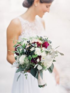 Fall-Hued Bouquet with Roses and Dahlias | Brides.com