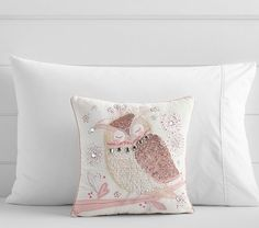 Pottery Barn Kids NICKI Jeweled OWL Decorative PILLOW Ivory Bed NEW With Tags #PotteryBarnKids