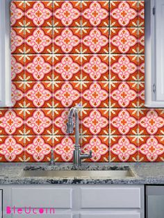 Tile Wall Decal Moroccan Pattern In Burnt Orange Salmon Pink 44 Pcs