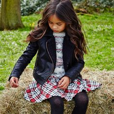 Cherokee Girls Faux Leather Jacket, Fairisle eyelash fur Jumper and Check Skirt