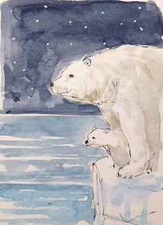 Original Watercolour Painting ACEO -Polar Bear & Cub- by Annabel Burton