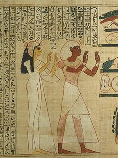 King Herihor and Queen Nodjmet adore the god Osiris,Ancient Egyptian Book of the Dead. Photograph: Trustees of the British Museum/British Museum Ancient Egyptian Paintings, Ancient Egyptian Artifacts, Egyptian Symbols, Ancient History, Egyptian Mythology, Egyptian Goddess, Egyptian Hair, Ancient Aliens, Pyramids Egypt