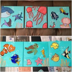 Hand painted Finding Nemo canvas I made for Noahs Finding Nemo Nursery
