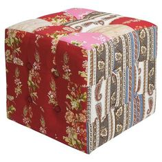 Stool Patchwork Red, 40x40cm