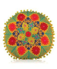 Look what I found on #zulily! Orange Round Botanical Cushion #zulilyfinds