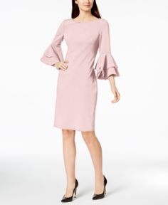 23831c49 Calvin Klein Tiered-Bell-Sleeve Sheath Dress - Tan/Beige 10 Sheath Dress