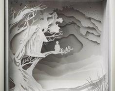 Shadow box paper cut Handmade paper diorama in a by ShadowBoxesCK Kirigami, Shadow Box Kunst, Shadow Box Art, 3d Paper Art, Diy Paper, Paper Crafts, Paper Cutting, Papercut Art, Minecraft Decoration