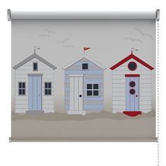 Beach Huts Roller Blind House Blinds, Blinds For Windows, Window Blinds, Nautical Bedroom, Nautical Bathrooms, British Beaches, Bali Blinds, Seaside Style