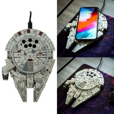 Millennium Falcon Wireless Charger - Jump to lightspeed-level charging with this one! We promise Lando won't try to take it back from you! Funny Greetings, Funny Greeting Cards, Black Plague Doctor Mask, Massage Pressure Points, Fire Breathing Dragon, Dog Ramp, Key Caps, The Big Lebowski, Take My Money