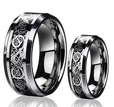 Promise Rings Simple | Mens  Ladies 8MM6MM The Celtic Dragon Design Tungsten Carbide Wedding Band Ring Set *** More info could be found at the image url. Note:It is Affiliate Link to Amazon.
