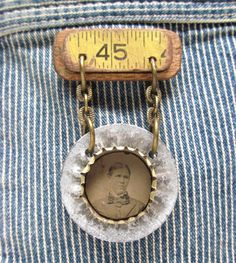 Antique Tintype Medal Assemblage Art Pin / Instant Ancestors