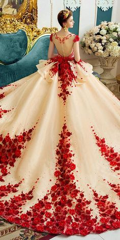Graceful Tulle Scoop Neckline Cap Sleeves Ball Gown Evening Dress With Lace Appliques & Handmade Flowers & Beadings Ball Gown / Evening Dress Ball Gowns Evening, Ball Gowns Prom, Ball Dresses, Wedding Gowns, Evening Dresses, Crazy Dresses, Red Ball Gowns, Prom Dresses, Formal Dresses