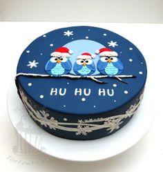 Owl cake eulen fondant torte weihnachten christmas (Baking Tips Tutorials) Christmas Cake Designs, Christmas Cake Decorations, Christmas Cupcakes, Holiday Cakes, Fondant Christmas Cake, Christmas Owls, Christmas Treats, Christmas Baking, Fondant Cakes