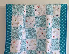Baby Girl Quilt featuring Bundle of Joy by Timeless Treasures Aqua Blue Purple Red Yellow Green White