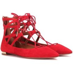 Aquazzura Belgravia Flat Suede Ballerinas ($545) ❤ liked on Polyvore featuring shoes, flats, red, flat shoes, ballerina flats, red flats, ballet flats and ballerina shoes