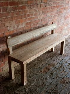 Kitchen Bench With Back - Reclaimed Teak