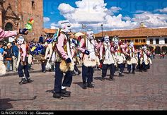 Group of people wearing traditional costume in a festival, Peru.