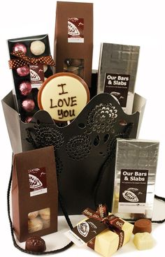 I Love You Chocolate Hamper treat someone this Valentine's day www.eden4chocolates.co.uk Chocolate Hampers, Chocolate Sweets, Chocolate Gifts, Delicious Chocolate, Valentine Chocolate, Gifts Delivered, Flowers Delivered, Homemade Gifts, Gift Baskets