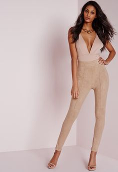 Petite Faux Suede High Waist Skinny Trousers Nude   Via @Missguided   $40.38   #Chic Only #Glamour Always