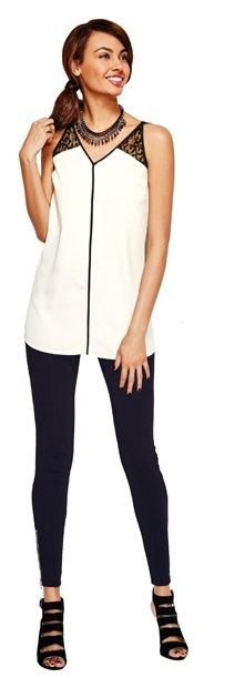 Coming in Avon Campaign 20, Touch of Lace Tunic, The Modern Zip Pant, & Glam Time Platform Heel! #FallFashion #FallStyle #BlackandWhite