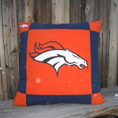 Denver Bronco NFL Football Tee Shirt Pillow by MossEmbroidery, $40.00