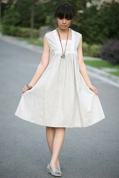 babydoll linen light beige dressmore colour and by FashionColours, $57.00