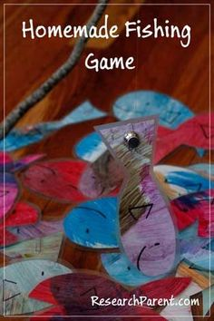 Homemade Fishing Game - Play Activity for Preschoolers and Kindergarteners… Fun Activities For Toddlers, Toddler Preschool, Preschool Activities, Games For Kids, Children Games, Camping Games, Fishing Games, Camping Ideas, Disneyland Vacation