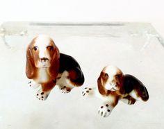Vintage Miniature Dogs - Basset Hound Dogs - Ceramic Miniature Basset Hound Dog by VintageModernHip on Etsy