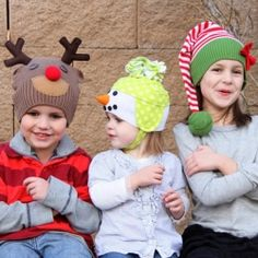 Adorable Christmas hats made from old sweaters.
