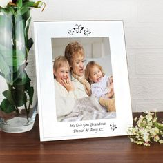 Personalise this Mirrored Butterfly Glass Frame with up to 2 lines of 30 characters each Frame is portrait and holds a 5x7 print Frame comes with a