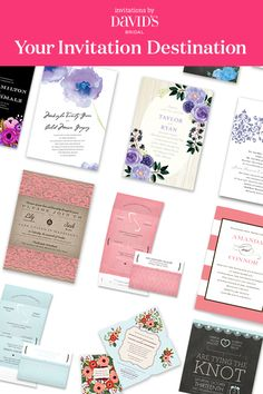 Colors. Fonts. Designs galore. What are you waiting for? Create your dream wedding suite at Invitations by David's Bridal and coordinate your whole beautiful day.