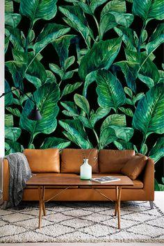 GREEN LEAVES pattern temporary wallpaper Green leaves