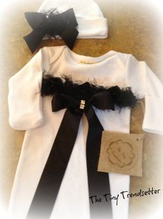 Baby Girl Gown and Beanie Set by TheTinyTrendsetter on Etsy, $44.00