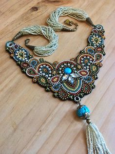 Bead Embroidery Necklace with Tassel Beadwork por perlinibella