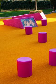 Italian art museum courtyard covered with brightly coloured astroturf.