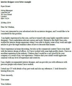 Outstanding Cover Letter Examples Interior Design