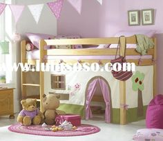 "Love this idea - the tent ""walls"" are a fun DIY project. Maybe for bigger girls room...I'd be nervous having a toddler sleep that high off the ground"