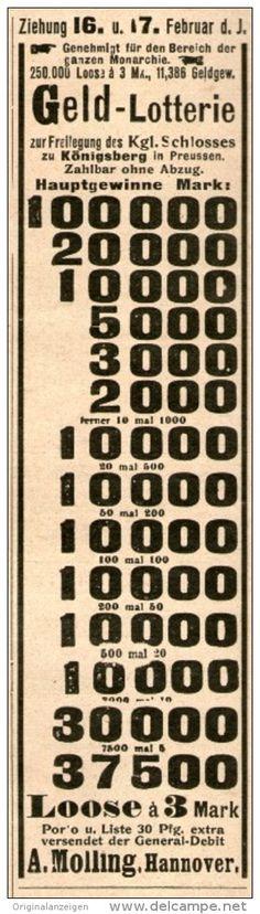 Original-Werbung/ Anzeige 1904 - GELD-LOTTERIE / MOLLING HANNOVER - ca. 45 x 170 mm