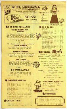1980's Vintage Menu THE WHITE TORTILLA MEXICAN RESTAURANT El Modena Orange CA