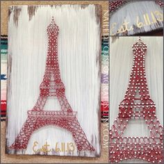 Eiffel tower, string art, paris decor, french, cotton anniversary gift, dorm, teen room, housewarming, going away gift, wood anniversary
