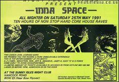 Inna Space 1991 rave flyer @  Sunny Isles Nightclub in Bow London.