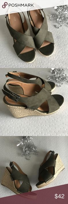 """Olive Green Wedge Sandals. New, will come without box. Beautiful olive green color. Buckle strap accords heel. Man made materials. Size 8.5. Heel height 4"""".  ❌ No trades or off Poshmark transactions.   👌🏻Quick shipping.   💁🏻Offers welcome through """"Make an Offer"""" feature.   👗👠 Bundle discount.   ❔ Feel free to ask any questions. Apt. 9 Shoes Sandals"""