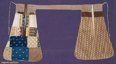 """Pair of pieced pockets, 1820-1830; In block, resist and cylinder cotton prints from late 18th century-1830s, each pocket lined and backed with home spun linen and attached with brown and cream calico band:  One pocket with 19 different prints and one pocket with three prints, Wd 10.5"""", L 16"""""""